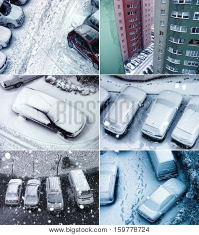 elevated view of parked cars covered with snow  during snowing