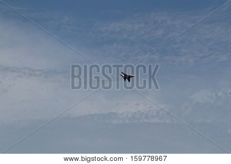 Perform aerobatics by the russian aircraft at the airshow