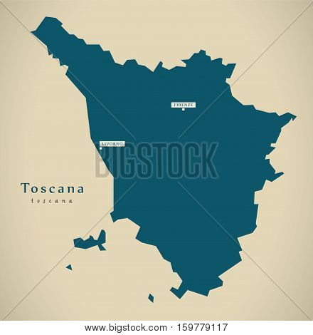 Modern Map - Toscana IT Italy illustration poster
