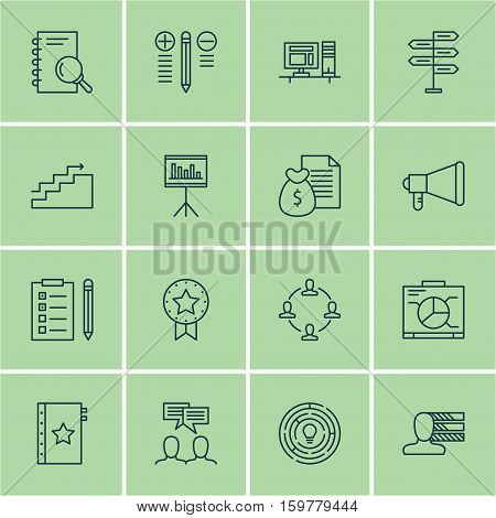 Set Of 16 Project Management Icons. Can Be Used For Web, Mobile, UI And Infographic Design. Includes Elements Such As Brainstorming, Money, Idea And More.