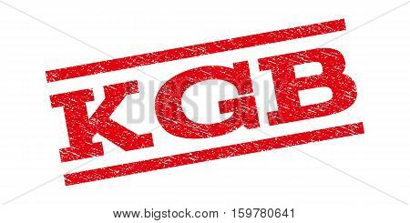 KGB watermark stamp. Text caption between parallel lines with grunge design style. Rubber seal stamp with dirty texture. Vector red color ink imprint on a white background.