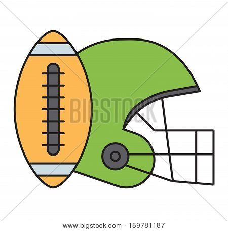 American football action tools isolated on white. Sport athlete uniform helmet vector icon. Winning quarterback professional competition sports equipment.