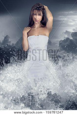 Aqua girl .Young woman coming out of the water