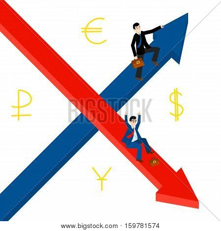 Growth, decline. Businessmen hold for growing top arrow signs. Business Men roll down arrow. Concept business and financial exchange market. Dollar, euro, ruble, yuan