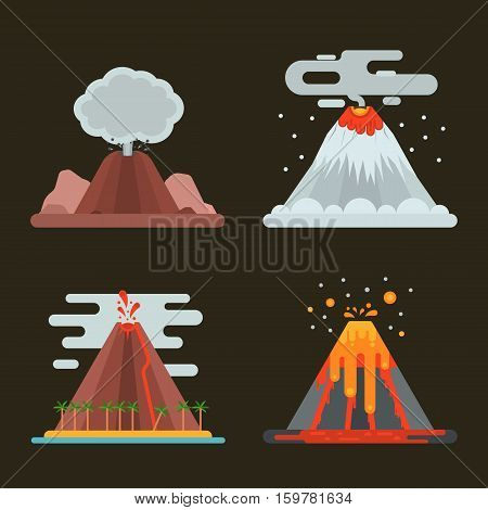 Volcano magma nature blowing up set with smoke vector isolated. Crater mountain hot natural eruption earthquake. Erupt ash fire hill landscape outdoor geology exploding ash.