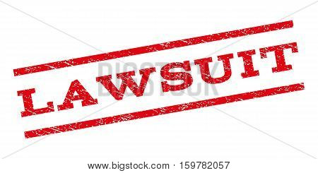 Lawsuit watermark stamp. Text tag between parallel lines with grunge design style. Rubber seal stamp with dust texture. Vector red color ink imprint on a white background.