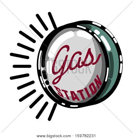 Color vintage gas station emblem and design elements. Vector illustration, EPS 10