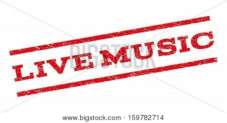Live Music watermark stamp. Text tag between parallel lines with grunge design style. Rubber seal stamp with scratched texture. Vector red color ink imprint on a white background.