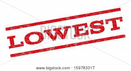 Lowest watermark stamp. Text caption between parallel lines with grunge design style. Rubber seal stamp with unclean texture. Vector red color ink imprint on a white background.