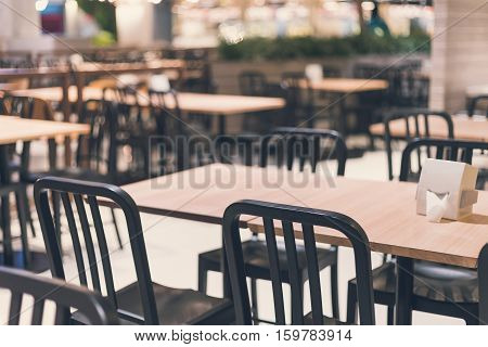 Empty table and chair in restaurant Interior of restaurant Vintage tone