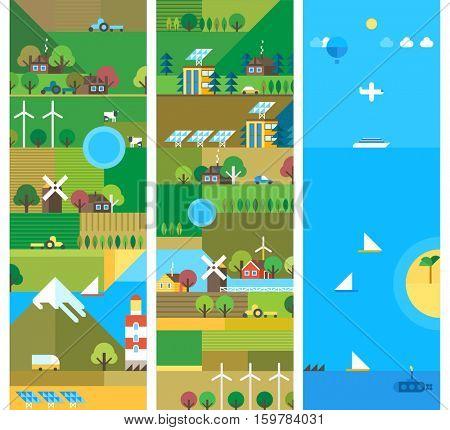 Village and landscape flat illustrations. Mountain landscape. Ecological holidays. The development of agriculture. Flat design. Vertical banners.