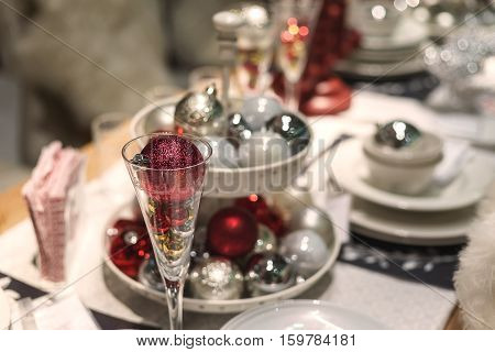 Home decorated christmas dining table, Xmas festival
