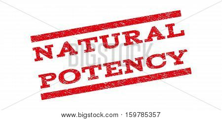 Natural Potency watermark stamp. Text tag between parallel lines with grunge design style. Rubber seal stamp with dust texture. Vector red color ink imprint on a white background.