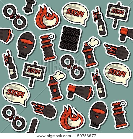 Colored Protest pattern with Using pepper spray and other. Vector illustration, EPS 10