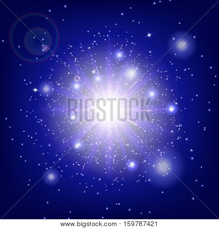 Light background texture. Stage vector. Magic stars. Sunshine rays. Illustration of a blue backdrop.