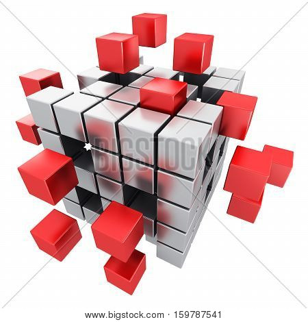 3D render illustration of metal cubic structure with assembling red metallic cubes isolated on white background