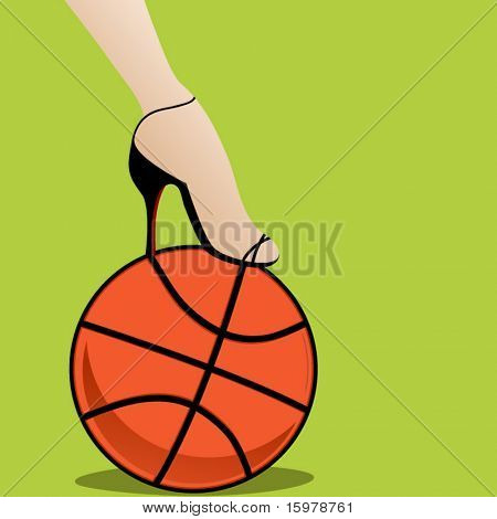 basketball with woman's highheel and foot