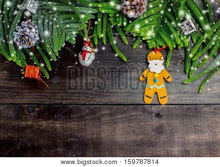 Christmas decoration on wooden background with snow Xmas idea