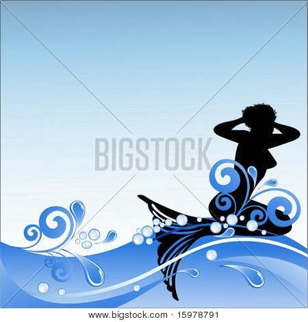 mermaid with waves  bubbles and splashes