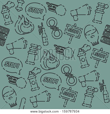 Protest set pattern with Using pepper spray and other. Vector illustration, EPS 10