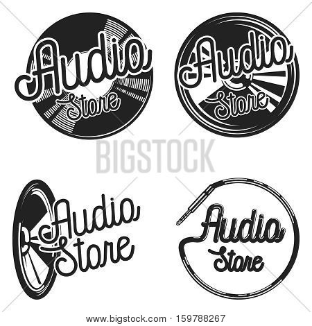 Vintage audio store emplems. Music shop, recording studio, karaoke club set of four vector monochrome labels, badges, emblems and logos in vintage style