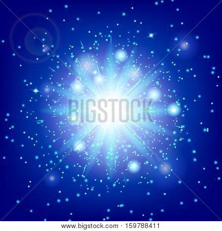 Lightning background. Blue bokeh. Lens flare vector. Illustration of a azure backdrop.