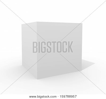 White cube isolated on white background. 3D illustration