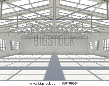 Abstract empty white warehouse interior with shadow on floor. 3D rendering