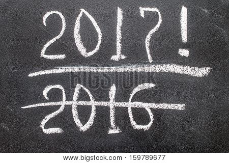 Blackboard with year figures 2016 and 2017. new year concept