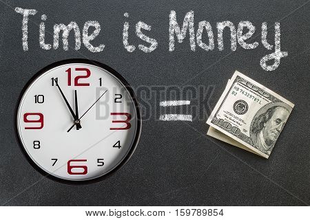The phrase Time Is Money written on a blackboard with  a clock face with the time at almost midnight
