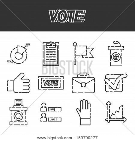 Vote icons set. Referendum polling and choice voter, vector illustration