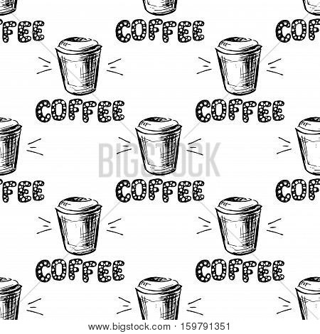 Coffee cup with lettering hand drawn seamless pattern black on white background stock vector illustration