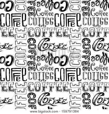 Coffee doodle lettering seamless pattern stock vector illustration