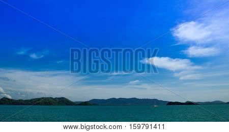 blue sky and many island on Andaman ocean