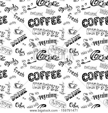 seamless doodle coffee pattern on white background , hand drawn, stock vector illustration