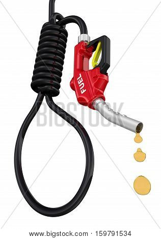Red refueling gun with black hose in the shape of noose. The concept of expensive fuel. Isolated. 3D Illustration