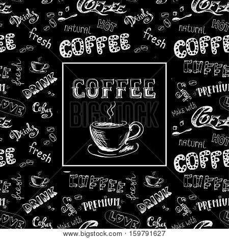 doodle coffee frame or background , hand drawn lettering, stock vector illustration