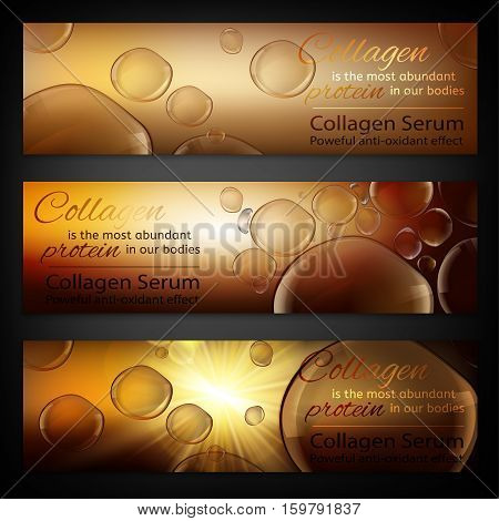 Transparent bubbles on the radiant bronze background. Beautiful vector charmaceutical  illustration in realistic premium style. Cosmetic medicine, skin care or perfumery digital banner.