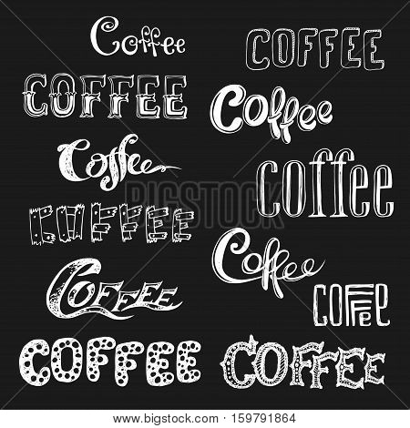 Coffee lettering in different styles on black background, stock vector illustration