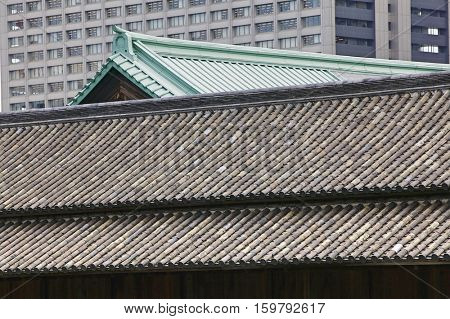 Japan, Tokyo, Tokyo Imperial Palace, Rooftop of Otemon (East Gate), close-up