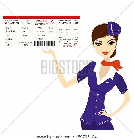 Young beautiful hostess and boarding pass, isolated on white background, stock vector illustration