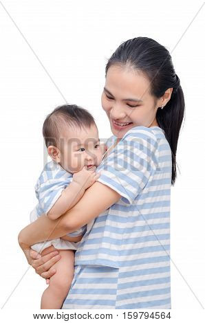 Beautiful young asian mother with her child over white background