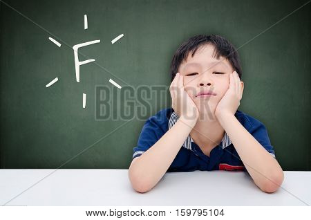 Unhappy asian student boy with text on blackboard