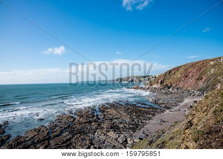 View of cliffs and ocean at Challaborough , United Kingdom