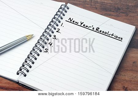 New Year's Resolution On A Notepad, Vintage Style.