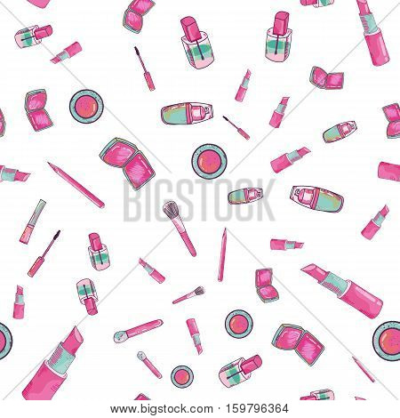 Make up vector concept. Vector cosmetics seamless pattern with place for your text. Make up artist objects. Cosmetics set