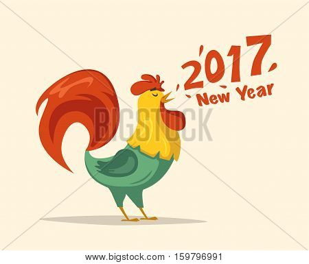 Chinese New Year 2017 symbol. Fire Rooster. Cartoon vector illustration. Stylized cock. Greeting card and calendar