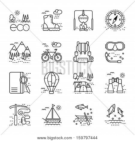 Eco tourism icons set on white background. Collection of modern line style design element. Vector illustration can be used for web page banner infographics