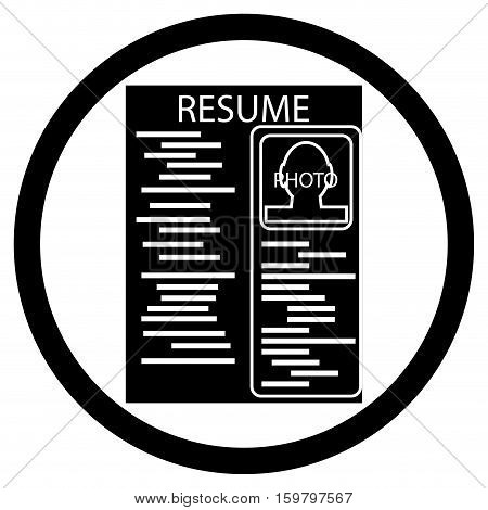 Resume black white icon. Cv icon and paper career. icon resume template. Vector illustration