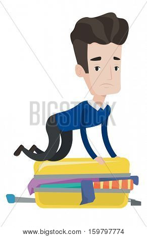 Caucasian man sitting on suitcase and trying to close it. Young man having problems with packing a lot of clothes into a single suitcase. Vector flat design illustration isolated on white background.